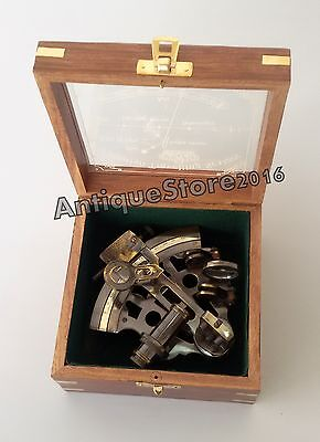 Vintage Marine Maritime VICTORIAN TRAVELLING SEXTANT Navigation With Wooden Box