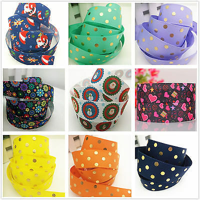 New Hot 1/5/10 yards 25mm 1 inch print a variety of patterns bow Ribbon Crafts