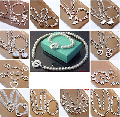 wholesale Jewelry  Hot Sale 925SILVER Bracelet Bangle Necklace Ring Earring Sets