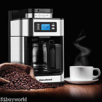1050W 10-Cup Auto Programmable Coffee Maker Grind Brew Machine Reusable Filter