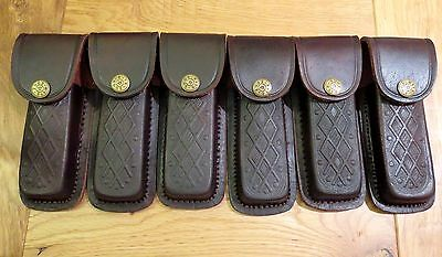"Lot of 6 brown textured leather knife sheaths -  knives up to 5"".  fits Buck 110"