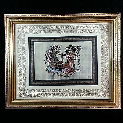 Original Hand Painted Greek Mythology Pompeii Wine God Dionysus Art Deco Framed