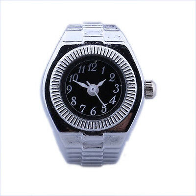 Women Alloy Quartz Black Round Dial Pocket Finger Ring Watch SH