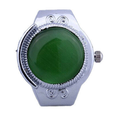 Women Alloy Quartz Green Cats Eye Round Dial Pocket Finger Ring Watch SH