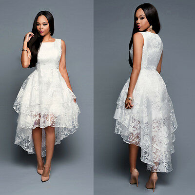 Women 2016 New Hi Low A-line White Lace Sleeveless Wedding Dress Bridal Gown