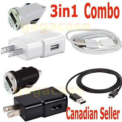 3in1 Power Adapter+Car Charger+USB Cable Samsung Galaxy S6 S7 Edge Plus A5 Note
