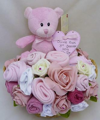 Personalised Baby Girl Bouquet Gift Hamper Nappy Cake  Baby Shower Maternity