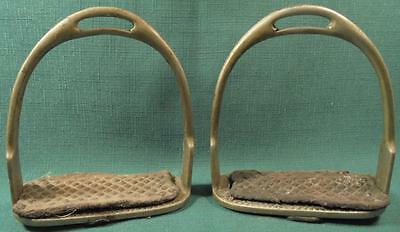 Vintage Antique Pair Nickle Stirrups Pads Saddle Horse Foot English