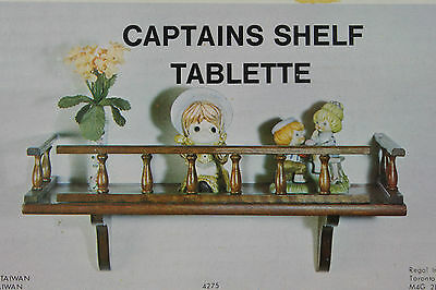Vintage 70s Wooden Captains Shelf Wall Mount Tablette with Rails Original Box