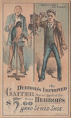 Victorian Trade Card-Herrod's Gaiters & Shoes-Brockton, MA-Telephone-Parrot