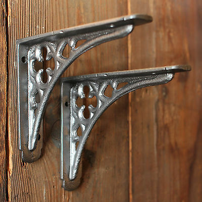 "Pair of 5x4"" GOTHIC CAST IRON PEWTER ANTIQUE VINTAGE SHELF WALL BRACKETS BR03px2"