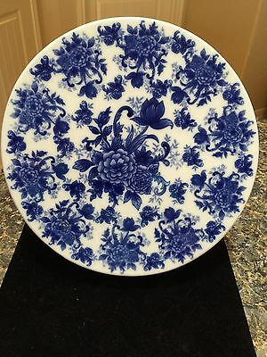 Spectacular Cobalt Blue And White Floral Cake Plate