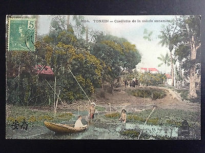 CP carte postale Indo Chine Tonkin Cueillette salade annamite