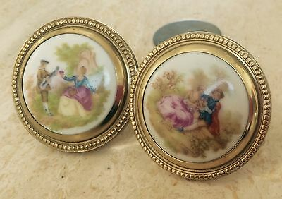 Antique hand painted knobs pair brass beaded pastoral country scene musical