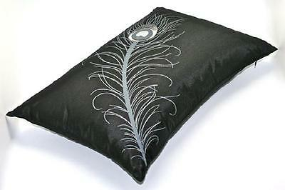 Cushion  Peacock Feather embroidered  filled 35cm x 50cm Decorative