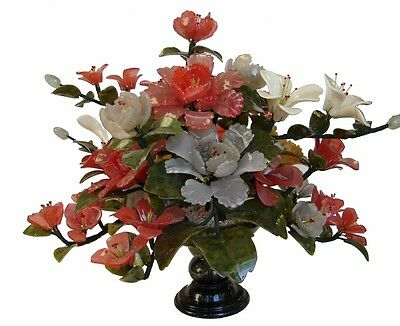 Chinese Jade Peony Bouquet Flower with Green Jade Stone Vase
