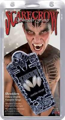 Shredders Deluxe Double Vampire Fangs, White, Scarecrow