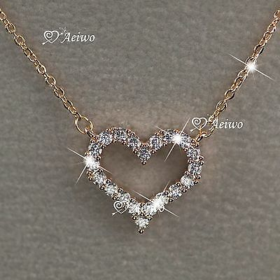 18K Gold Gf Clear Crystal Special Love Heart Pendant Necklace