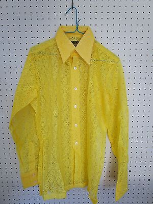 Retro Vintage 1970's Genuine Yellow Lace  Disco Mens Shirt New (Old Stock) Med