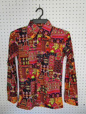 Retro Vintage 1970's Genuine Psychedelic Disco Mens Shirt New (Old Stock) Small