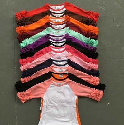 Baby Girls Toddler T Shirts Icing Ruffle Shirt Tops Casual Clothes 2T 4T 5T 6T 7