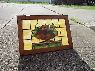 """Antique Arts & Crafts Wood Framed Stained Glass """"Fruit Bowl"""" Window (#7)"""