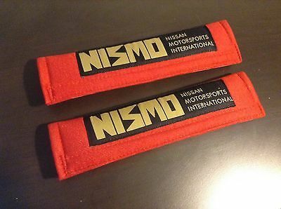 Nissan Nismo Seat Belt Pads Pair Red Black Gold
