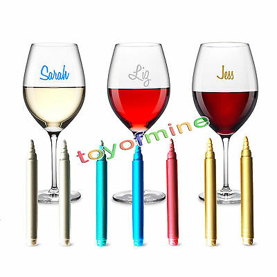 Wine Glass  Metallic Pens Painted Pen 7 pcs Markers work on any glass NEW