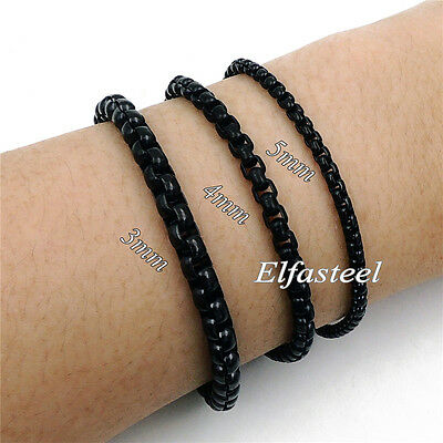 Men Women 3MM 4MM 5MM Black Stainless Steel Round Box Chain Bracelet / Anklet