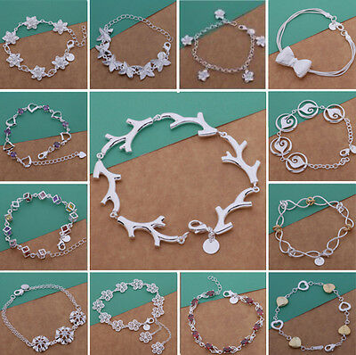 Wholesale Jewelry Lady/mens 925SOILD SILVER Bracelet Bangle Chain Xmas GIFT