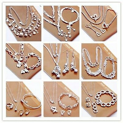 Fashion Jewelry Solid Silver Lady Sets Necklace/Bracelet/Ring/Earrings S925+ Box