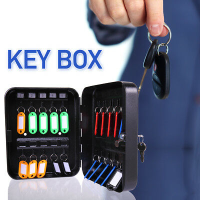 Metal Safe 20 Hook Key Box w/Tag  Case Cabinet Wall Mount Home Car Lock Storage