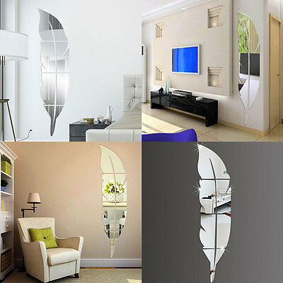 DIY Modern Plume Feather Acrylic Mirror Wall Stickers Room Decal Decoration