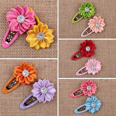 10pcs Girls Kids Baby Infant Mini Hair Clips Flower Crystal hairpins New