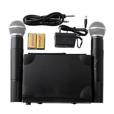 PRO UHF Dual Wireless Microphone Mic System +2 MIC Party KTV DJ Black