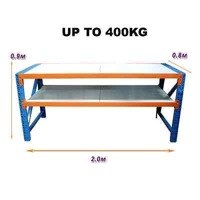 2M x 0.8M New Work Bench Warehouse Garage Metal Steel Storage Shelving Racking
