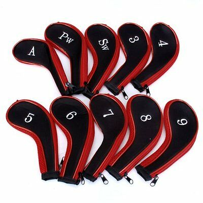 10 Golf Clubs Iron Set Headcovers Head Cover Red/Black SH