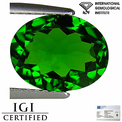2.25 Ct IGI Certified Natural Chrome Diopside Gemstone Deep Green Color Oval Cut