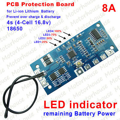4S 8A 16.8V Li-ion Lithium 18650 Battery Charger BMS PCB Protection Board w/LED