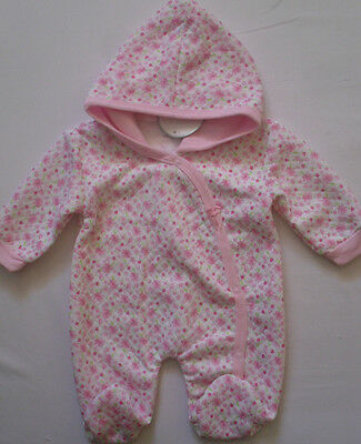 Baby Babies Clothes Girls Babygrow Onesie All In One Pink Floral Hooded Romper