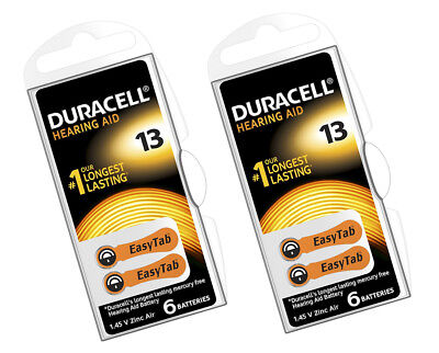 12 x Duracell 13 Hearing Aid Batteries Orange Tab Activair 1.45v PR48 Easytab UK