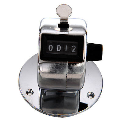 Round Base 4 Digit Manual Hand Tally Mechanical Palm Click Counter SH
