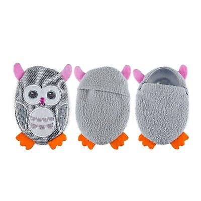 Cute Grey Owl Shaped Applique Knit Cover Click & Heat Reusable Gel Hand Warmer