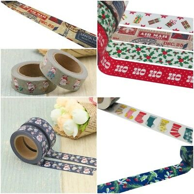 Christmas Washi Tape, Christmas Themed Gift Wrap Planner Tapes 15mm x10 Metres