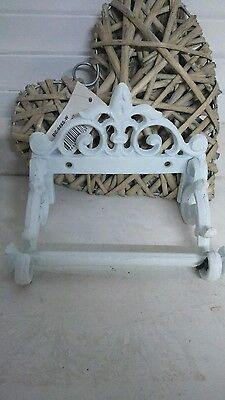 Toilet Paper Roll Holder Cast iron Metal white Country House Antiques Shabby