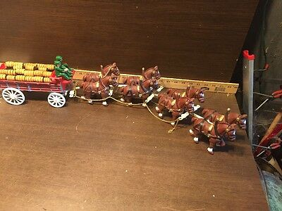 Vintage Anheuser Busch Budweiser Cast Iron Eight Clydesdale 8 Horses Beer Wagon