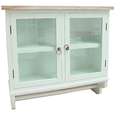 """SHABBY KITCHEN CUPBOARD """"IDA""""   white, glass door   wall cabinet, country style"""