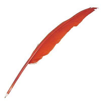Red Retro Black Ink Feather Quill Ballpoint Pen for Office Student Collect SH