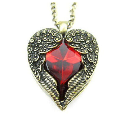 Angel Wings Wrapped Around a Red Heart Pendant Necklace With long 70cm chain SH