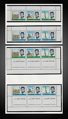 1966 Qatar President John Fitzgerald Kennedy Strips Of 3 + Strips 3 With Tab Mnh